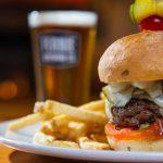Hamburger and fries from Smokehouse Menu